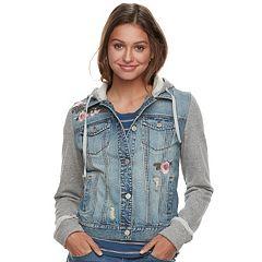 Juniors' Mudd® Floral Knit-Sleeve Denim Jacket