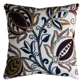 Rizzy Home Embroidered Flourish Throw Pillow