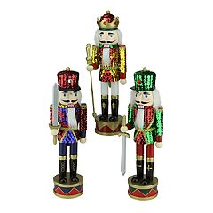 14-in. Sequin Nutcracker Christmas Decor 3-piece Set