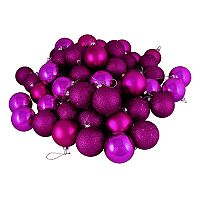 Northlight Shatterproof Magenta Ball Christmas Ornament 32 pc Set