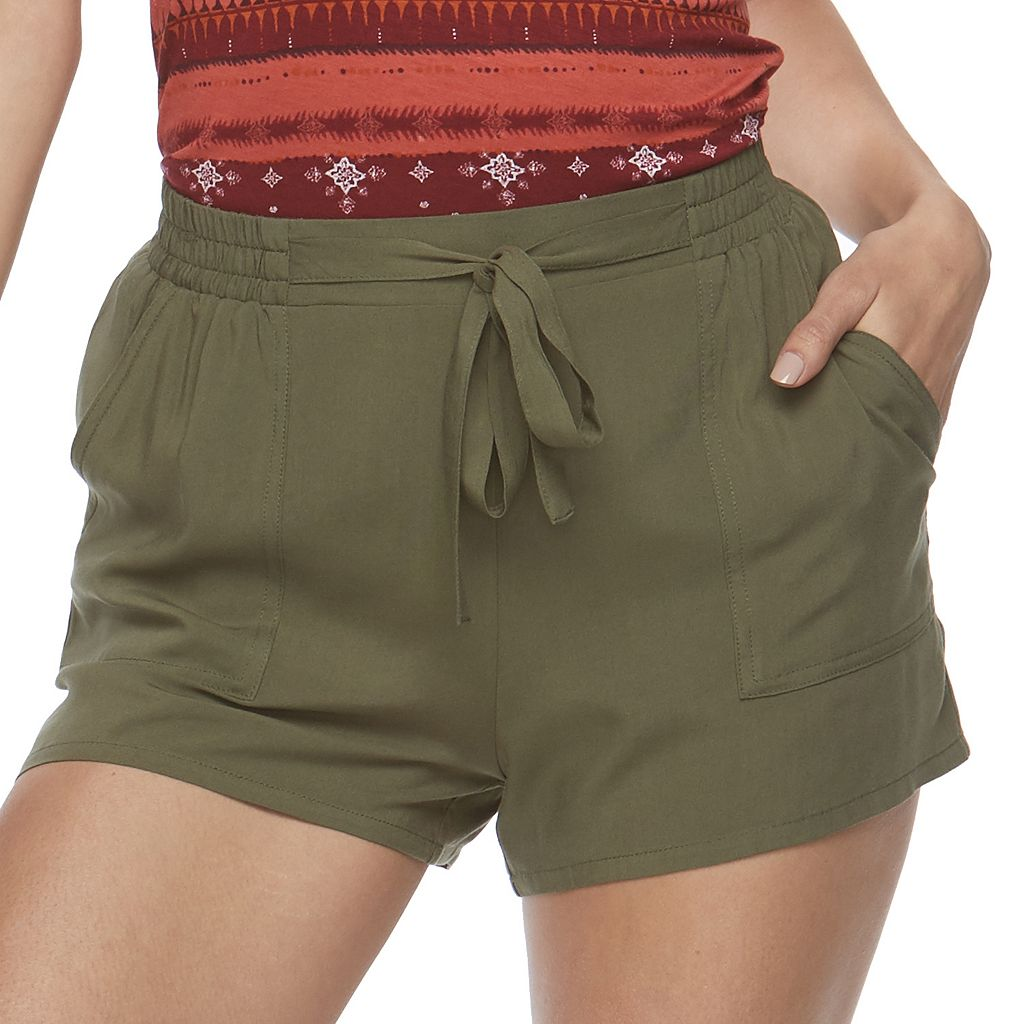 Juniors' Joe B Tie Front Soft Shorts