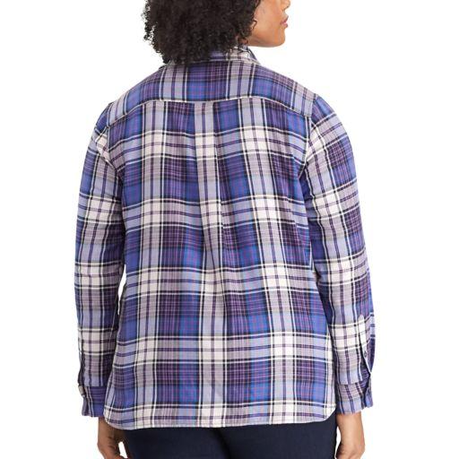 Plus Size Chaps Plaid Button-Down Shirt