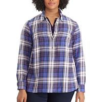 Plus Size Chaps Plaid Button-Down Shirt