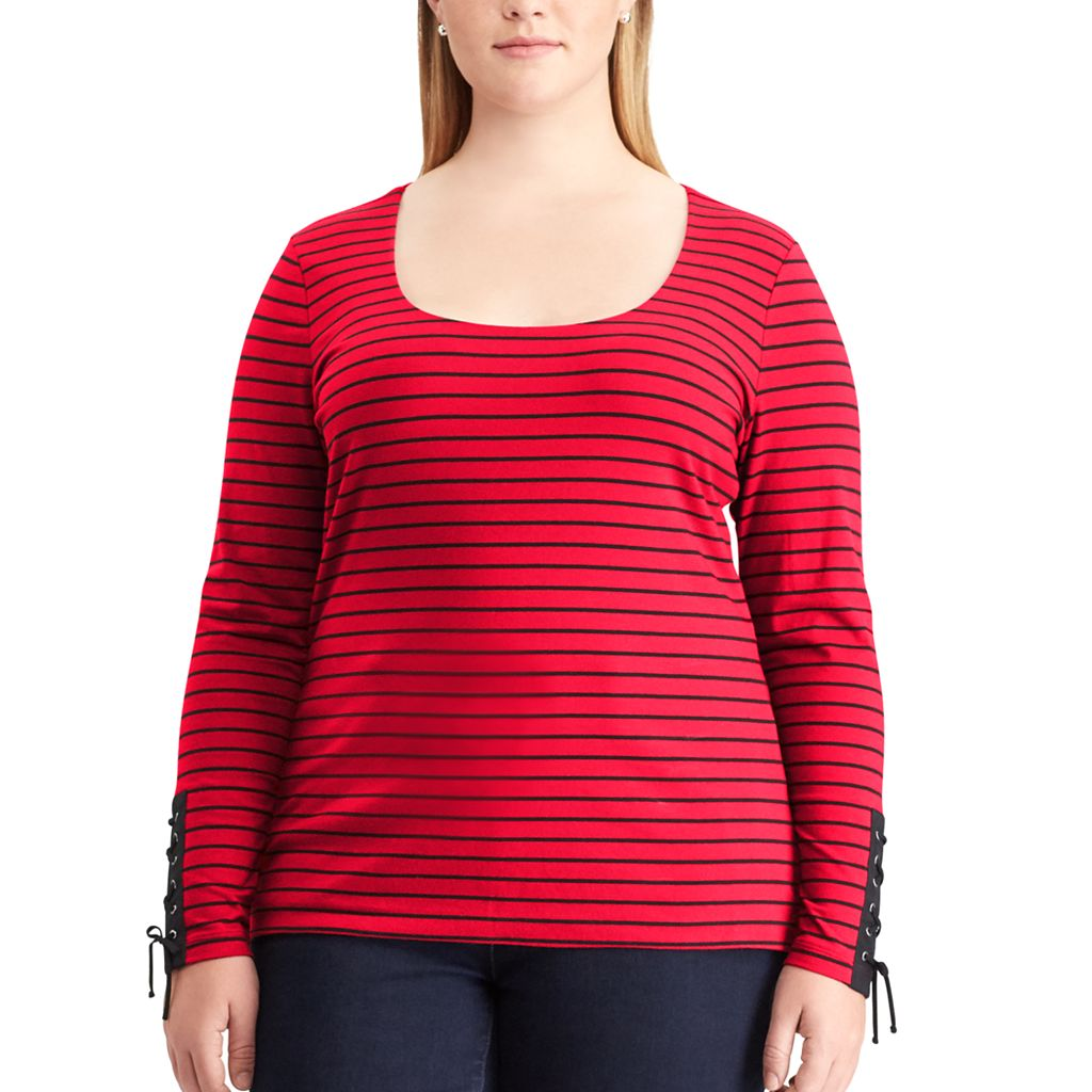 Plus Size Chaps Lace-Up Sleeve Scoopneck Tee