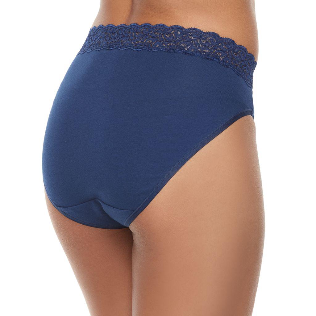 Vanity Fair Flattering Lace Cotton Stretch Hi-Cut Panty 13395