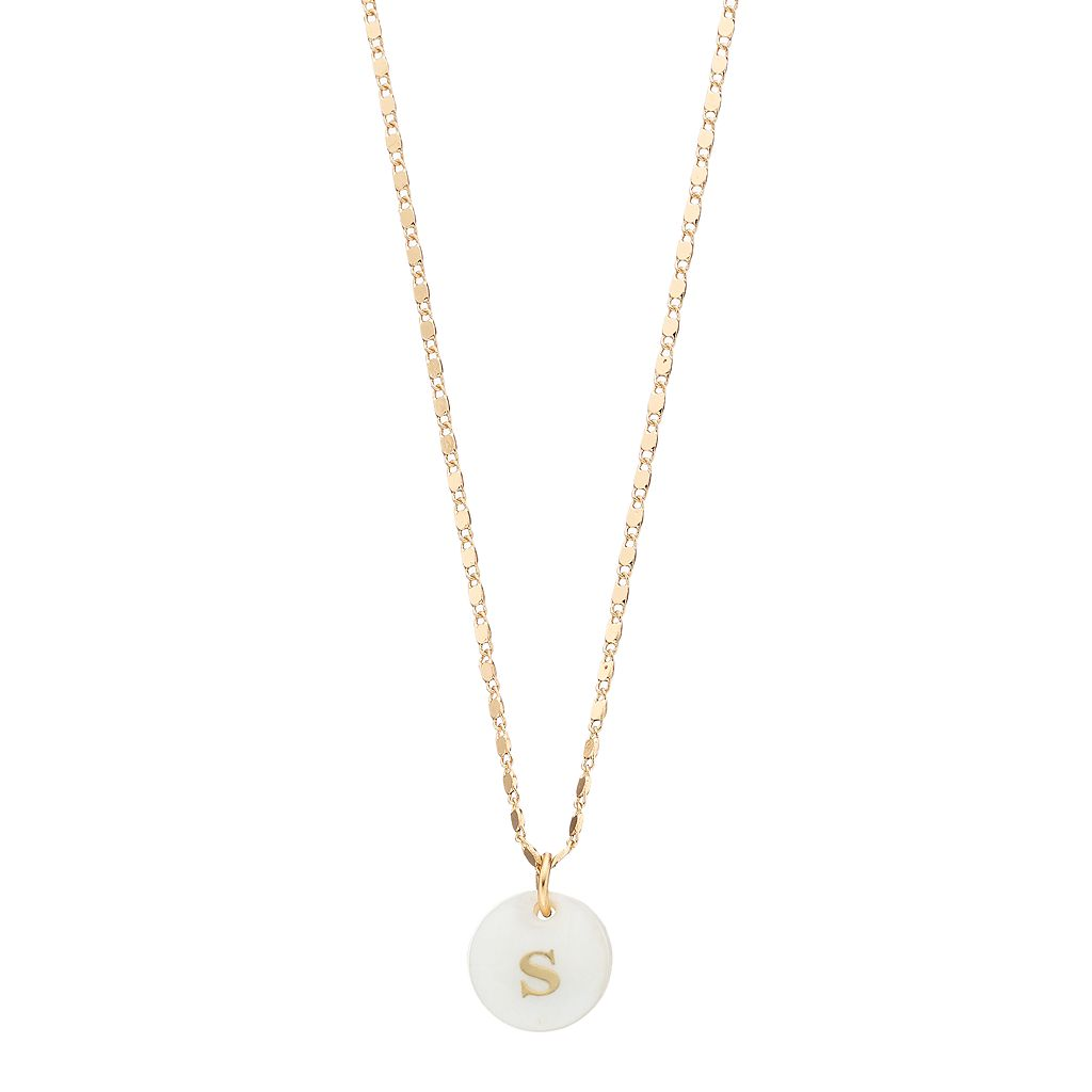 LC Lauren Conrad Monogram Mother-of-Pearl Pendant Necklace