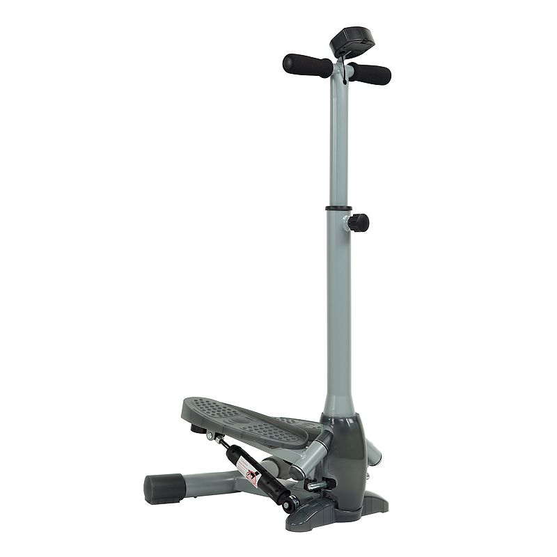 Sunny Health & Fitness Twist-In Stepper with Handlebar Target the inner and outer thighs with this Sunny Health and Fitness twist-in stepper with handlebar. Watch the product video here. Helps alleviate stress on jointsSlip-resistant foot platesLCD digital monitor displays stride per minute, time, calories burned and step count 44 H x 17 W x 19 D Weight: 19 lbs. Weight limit: 220 lbs. Plastic, metal Frame: manufacturer's 1-year limited warranty Parts & components: manufacturer's 90-day limited warranty For warranty information please click here Wipe clean Model no. SF-S0637  Size: One Size. Color: Multicolor. Gender: unisex. Age Group: adult.