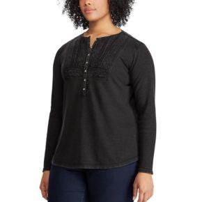 Plus Size Chaps Lace-Trim Henley