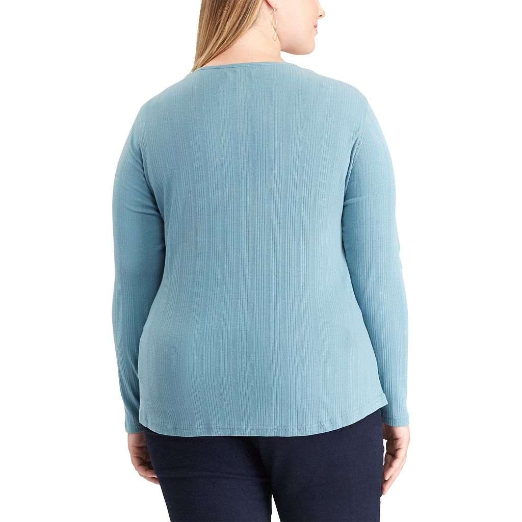 Plus Size Chaps Pocket Henley
