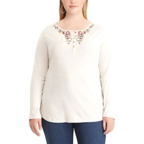 Plus Size Chaps Floral Embroidered Henley