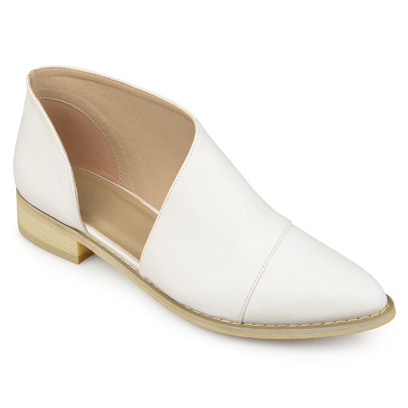 Step into cool style with these women\\\'s Quelin D'Orsay flat by Journee Collection. SHOE FEATURES D\\\'Orsay style Traction sole SHOE CONSTRUCTION Faux leather upper Manmade outsole SHOE DETAILS Pointed toe Slip on Padded footbed 1.1-in. heel  Size: Medium (12). Color: White. Gender: female. Age Group: adult. Material: Synthetic.