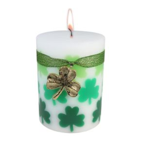 "Celebrate St. Patrick's Day Together Celtic Moss 3"" x 4"" Pillar Candle"