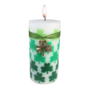 """Celebrate St. Patrick's Day Together Celtic Moss 3"""" x 6"""" Pillar Candle"""