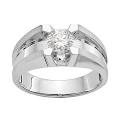 Men's Sterling Silver Diamonore Solitaire Ring