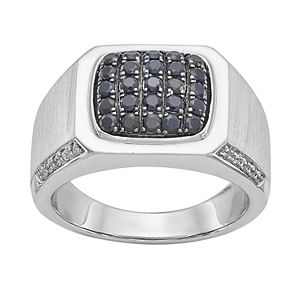 Men's Sterling Silver Black Sapphire & 1/10 ct. T.W. Diamond Ring