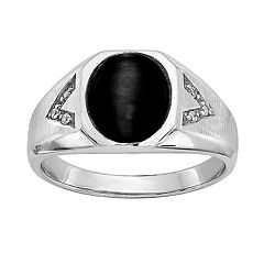 Men's Sterling Silver Onyx & Diamond Accent Cabochon Ring