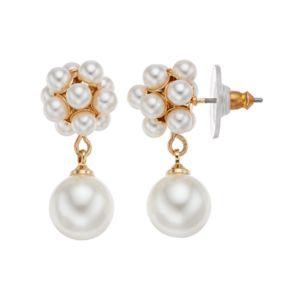 LC Lauren Conrad Simulated Pearl Cluster Nickel Free Drop Earrings