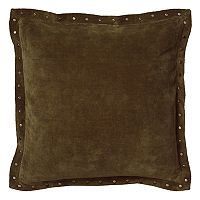 Rizzy Home Antiqued Brass Finish Metal Studded Flange Throw Pillow