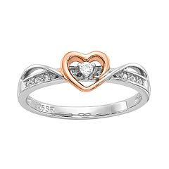 Two Tone Sterling Silver Diamond Accent Heart Promise Ring