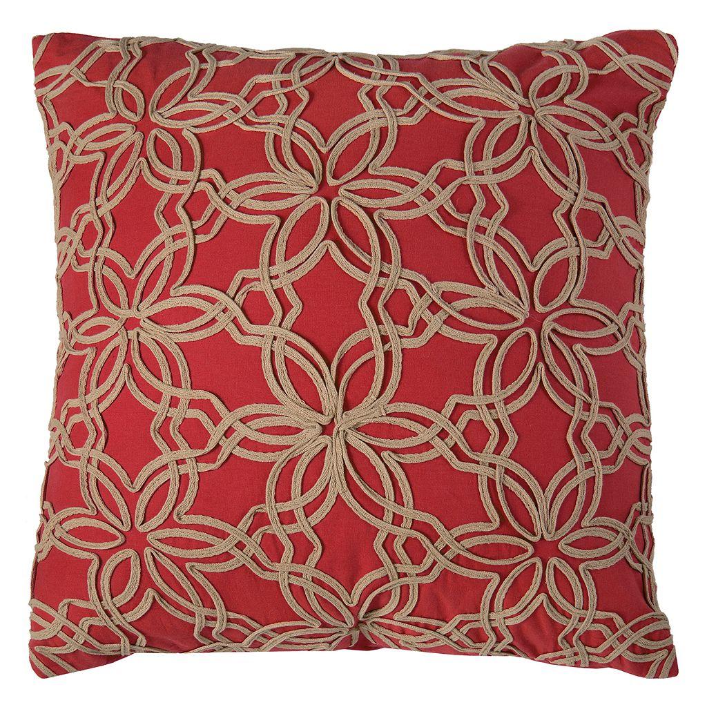 Rizzy Home Floral Applique Ribbon Throw Pillow