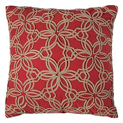 Rizzy Home Floral Applique Ribbon Throw Pillow