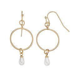 LC Lauren Conrad Simulated Pearl Nickel Free Hoop Drop Earrings