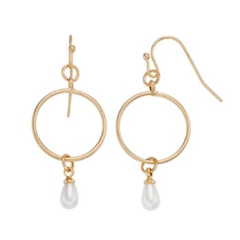 LC Lauren Conrad Simulated Pearl Nickel Free Hoop Drop Earrings