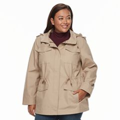 Plus Size d.e.t.a.i.l.s Hooded Cotton Anorak Jacket