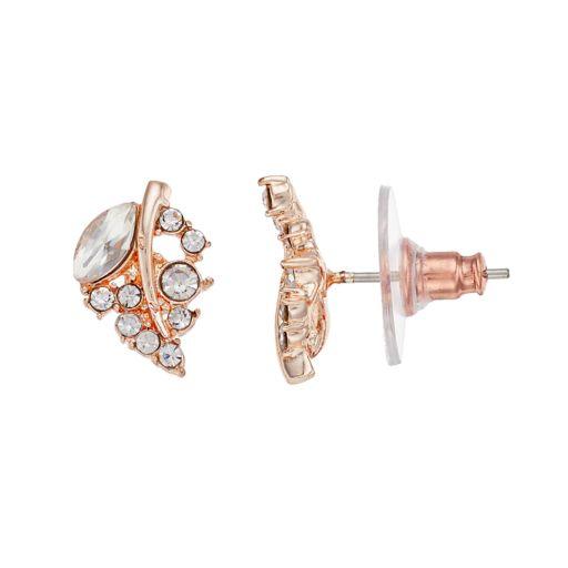 LC Lauren Conrad Simulated Crystal Leaf Nickel Free Stud Earrings