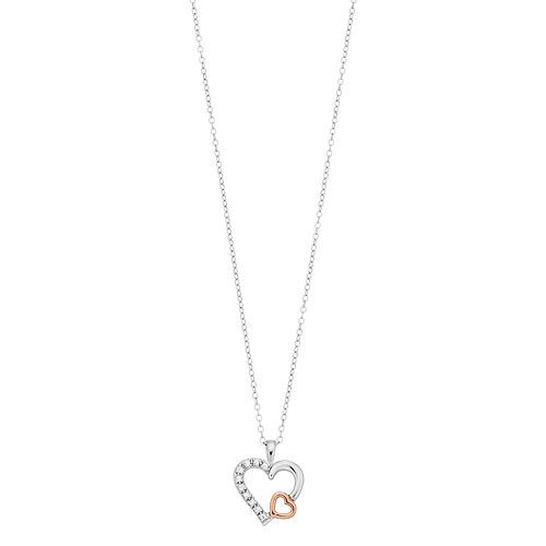 Two Tone 10k Rose Gold Over Silver White Topaz Dual Heart Pendant