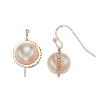 LC Lauren Conrad Simulated Pearl Nickel Free Orbital Drop Earrings