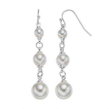 LC Lauren Conrad Simulated Pearl Link Nickel Free Linear Earrings