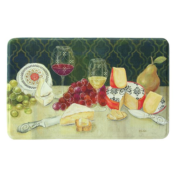 Bacova Wine With Cheese Memory Foam Kitchen Rug