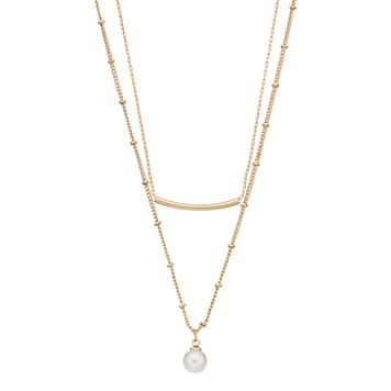 LC Lauren Conrad Simulated Pearl & Curved Bar Double Strand Necklace