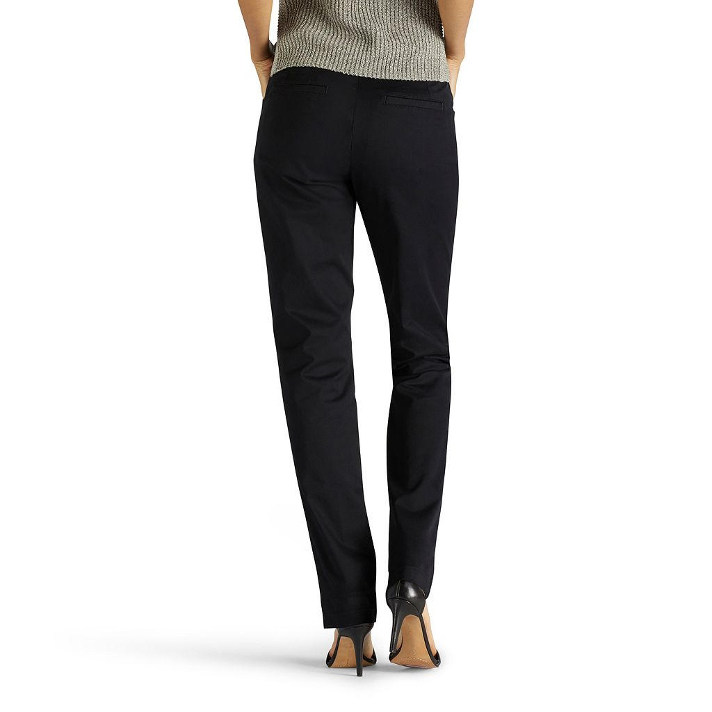 Petite Lee Straight-Leg Twill Pants