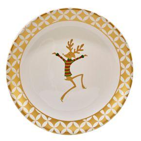 Certified International Gold Dancing Reindeer Round Platter