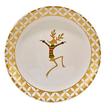 Certified International Gold Dancing Reindeer Round Platter