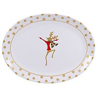 Certified International Gold Dancing Reindeer Oval Platter