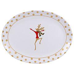 Certified International Gold Dancing Reindeer Oval Platter