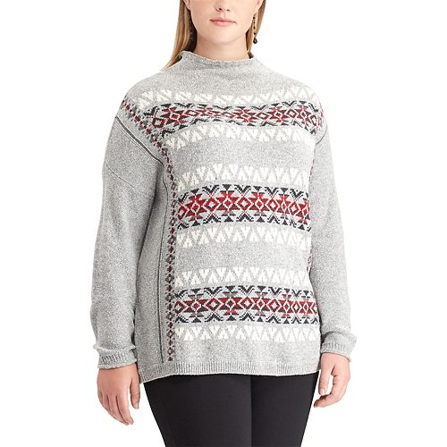 Plus Size Chaps Fairisle Mockneck Sweater