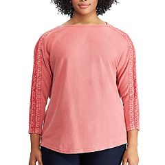 Plus Size Chaps Lace-Trim Boatneck Tee