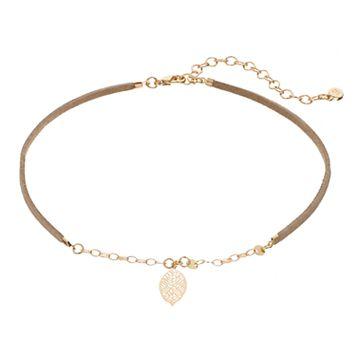 LC Lauren Conrad Leaf Faux Suede Choker Necklace