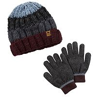 Boys Carter's Colorblock Cable Knit Beanie & Gloves Set