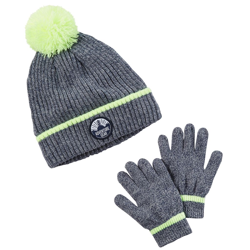 Boys 4-20 Carter's Marbled Hat & Gloves Set