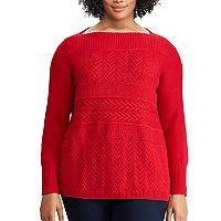 Plus Size Chaps Textured Boatneck Sweater