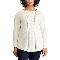 Plus Size Chaps Cable-Knit Boatneck Sweater