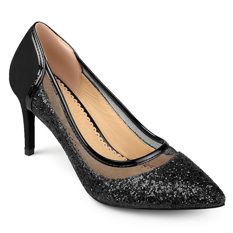 Glamourous style is yours with these women\\\'s Kalani pumps by Journee Collection. SHOE FEATURES Glittery design Sleek silhouette Stiletto heel SHOE CONSTRUCTION Polyurethane upper Manmade outsole SHOE DETAILS Pointed toe Slip on Padded footbed 3.1-in. heel  Size: Medium (12). Color: Black. Gender: female. Age Group: adult. Material: Synthetic.