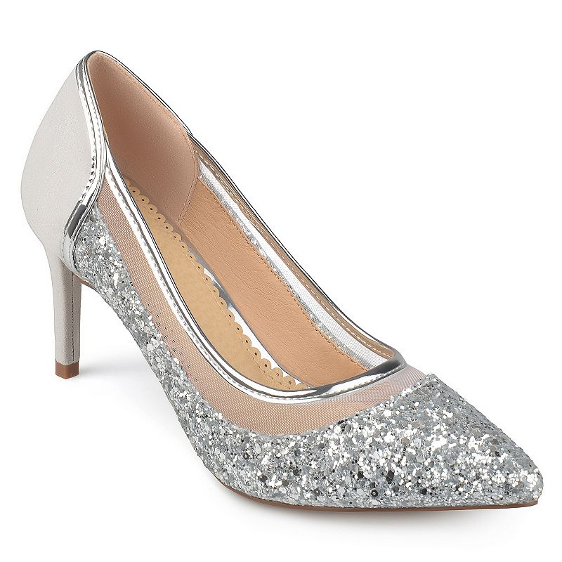 Glamourous style is yours with these women\\\'s Kalani pumps by Journee Collection. SHOE FEATURES Glittery design Sleek silhouette Stiletto heel SHOE CONSTRUCTION Polyurethane upper Manmade outsole SHOE DETAILS Pointed toe Slip on Padded footbed 3.1-in. heel  Size: Medium (12). Color: Silver. Gender: female. Age Group: adult. Material: Synthetic.