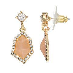 LC Lauren Conrad Faceted Stone Nickel Free Halo Drop Earrings