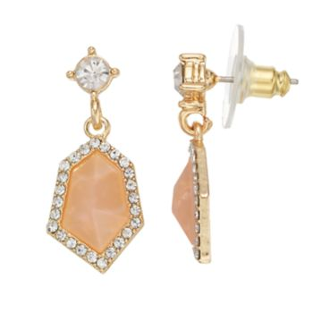 LC Lauren Conrad Faceted Stone Nickel Free Halo Drop Earrings